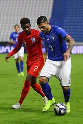 GIUSEPPE PEZZELLA (ITALY) VS DEMARAI GRAY (ENGLAND)     <br /> Football friendly match Italy vs England u21<br /> Ferrara Italy November 15, 2018<br /> Photo by Filippo Rubin