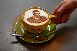 © Licensed to London News Pictures. 03/05/2016. Leicester, UK. Brü Cafe serves cappuccinos with silhouette of Leicester City's striker Jamie Vardy, called 'Vardy-cino' as fans celebrate Leicester City winning the 2016 Premier League title the day before in Leicester city centre on Tuesday, 3 May 2016.  Photo credit: Tolga Akmen/LNP