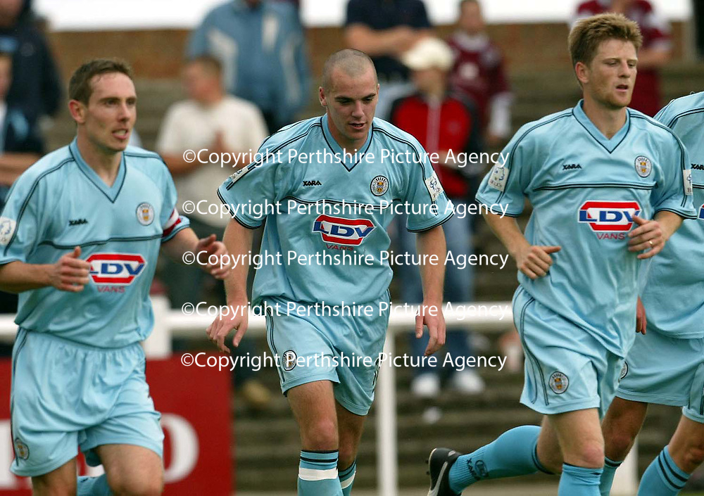 Arbroath v St Mirren..  14.09.02<br />Martin Cameron celebrates his goal<br /><br />Pic by Graeme Hart<br />Copyright Perthshire Picture Agency<br />Tel: 01738 623350 / 07990 594431