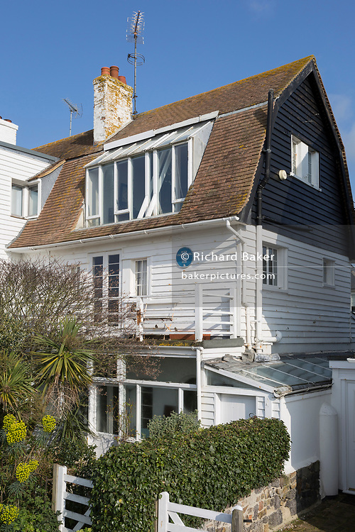 The exterior of the actor Peter Cushing's beach-front house, on 31st March 2019, in Whitstable, Kent, England. Peter Cushing OBE (1913 - 1994) was an English actor best known for his roles in the Hammer Productions horror films of the 1950s, 1960s, and 1970s, as well as his performance as Grand Moff Tarkin in Star Wars.