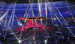 02.07.2011, Imtech Arena, Hamburg, GER, Weltmeisterschaft Schwergewicht, IBF-, WBO- und IBO-Weltmeister Wladimir Klitschko (GER) vs WBA-Champion David Haye,  im Bild die Arena mit Light-Show und Feuerwerk vor dem Kampf  // during the WM fight between Wladimir Klitschko and David Haye, in the Imtech Arena, Hamburg, 2011/07/02  .EXPA Pictures © 2011, PhotoCredit: EXPA/ nph/  Witke       ****** out of GER / CRO  / BEL ******