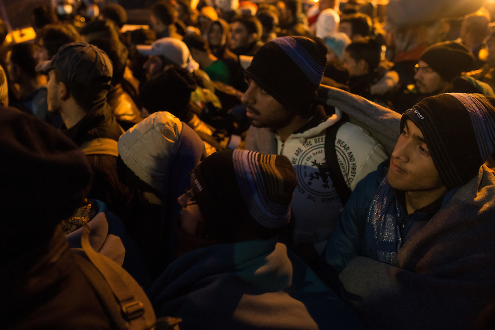 26.10. 2015, refugees are gathering in reception center in Dobova after crossing  Slovenian-Croatian border. They came from Opatovac refugee center in Croatia through Rigonce crossing point. But before that they have to walk at least 3 km from train station in Kljuc-Brdovecki  through the fields to Rigonce and then in Dobova.