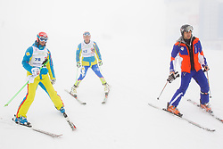 Andrej Jerman, Andrej Sporn and Jure Kosir during last race of A.  Jerman, Slovenian best downhill skier when he finished his professional alpine ski career on April 6, 2013 in Krvavec Ski resort, Slovenia. (Photo By Vid Ponikvar / Sportida)