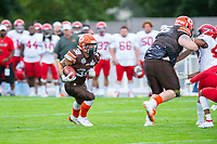 KELOWNA, BC - AUGUST 17:  Kelton KOURI #38 of Okanagan Sun runs with the ball during the second quarter against the Westshore Rebels  at the Apple Bowl on August 17, 2019 in Kelowna, Canada. (Photo by Marissa Baecker/Shoot the Breeze)