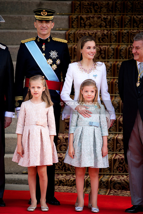 King Felipe VI of Spain, Queen Letizia of Spain, Princess of Asturias, Leonor, and Princess Sofia arrives to Congress for the crowing on June 19, 2014 ahead of a joint session of parliament.