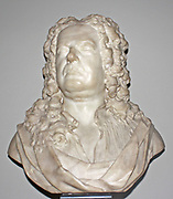 Marble bust of James Gibbs, 1726. Gibbs  (1682-1754) was one of the most influential architects of the first half of the 18th century with the church of St. Martin-in-the-fields (London) being  one of his best-known works.  His Book of Architects published in 1728 became a standard textbook, spreading his personal version of the Palladian Style as far as India and N. America.