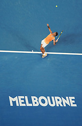 MELBOURNE, Jan. 16, 2019  Rafael Nadal of Spain serves the ball after the men's singles second round match against Matthew Ebden of Australia at the Australian Open in Melbourne, Australia, Jan. 16, 2019. (Credit Image: © Bai Xuefei/Xinhua via ZUMA Wire)