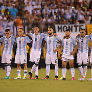 EAST RUTHERFORD, NEW JERSEY - JUNE 26:  Lionel Messi #10 of Argentina with team mates on the half way line after missing a penalty in the penalty shoot out during the Argentina Vs Chile Final match of the Copa America Centenario USA 2016 Tournament at MetLife Stadium on June 26, 2016 in East Rutherford, New Jersey. (Photo by Tim Clayton/Corbis via Getty Images)
