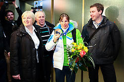 Vesna Fabjan with family at reception of Slovenia team arrived from Winter Olympic Games Sochi 2014 on February 19, 2014 at Airport Joze Pucnik, Brnik, Slovenia. Photo by Vid Ponikvar / Sportida