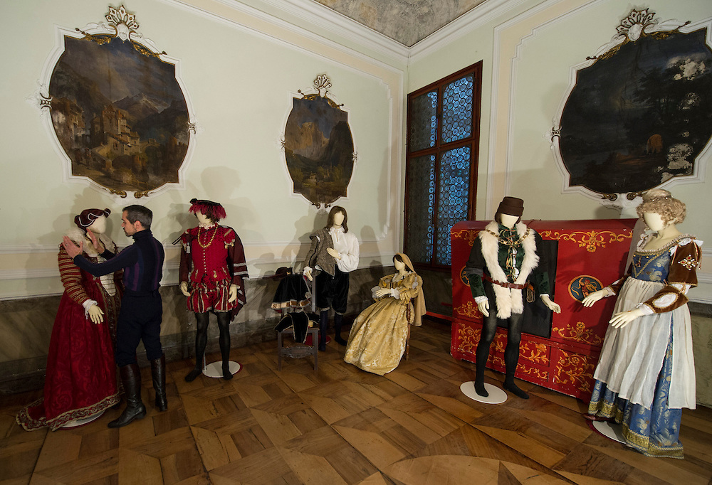 Raffaele Dessi of the Atelier Pietro Longhi in Venice checks a costume ahead of the opening during Carnival 2013  of the Costumes Museum at Palazzo Zen dei Frari.  Artisans, masks and costumes makers are getting ready ahead of Venice Carnival 2013