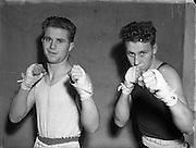 National Junior Boxing Championships.18/12/1952<br /> P. Martin (St. Vincents) Lightweight winner.<br /> On right J. (T.?) Sweeney (Avona) Lightweight runner up