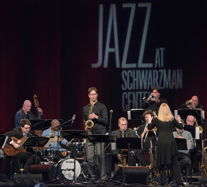 Photo by Mara Lavitt<br /> New Haven, CT<br /> March 11, 2017<br /> Jazz: A Celebration of American Sound at Yale's Schwarzman Center. The Maria Schneider Orchestra performing with Donny McCaslin on saxophone.