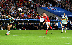Aaron Ramsey of Wales sees his shot deflected wide  - Mandatory by-line: Joe Meredith/JMP - 01/07/2016 - FOOTBALL - Stade Pierre Mauroy - Lille, France - Wales v Belgium - UEFA European Championship quarter final