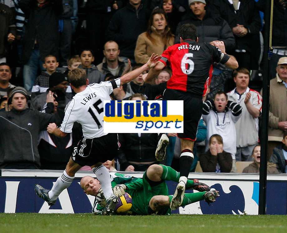 Photo: Steve Bond/Sportsbeat Images.<br />Derby County v Blackburn Rovers. The FA Barclays Premiership. 30/12/2007. Brad Friedel (ground) saves Derby's penalty as Eddie Lewis (L) and Ryan Nelson (R) close in for a rebound