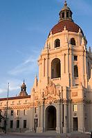 Sunset Light on Pasadena City Hall Baroque Italian Renaissance Architecture Style Dome, Pasadena, California
