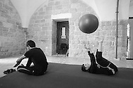 Weekly training sessions are held for four different ability levels - Show Group, Preparatory Group, Introductory Group and Social Circus Group.<br /> <br /> Students at the Palestinian Circus School, Birzeit, Ramallah, West Bank, Palestine.