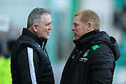 Ross County manager Owen Coyle and Hibernian manager Neil Lennon chat ahead of the Ladbrokes Scottish Premiership match between Hibernian and Ross County at Easter Road, Edinburgh, Scotland on 23 December 2017. Photo by Craig Doyle.