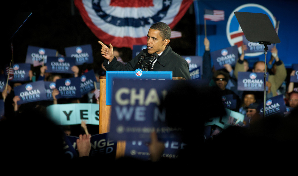 MANASSAS, VA - Nov. 2:  Democratic nominee for president, Sen. Barack Obama speaks to his last crowd of campaign supporters at Virginia's Prince William County Fairgrounds in Manassas, Virginia the day before the national election, and one that will determine if he will be the first black President of the United States of America.