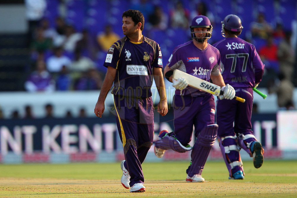Piyush CHAWLA of the Kolkata Knight Riders  during the first semi final match of the Oppo Champions League Twenty20 between the Kolkata Knight Riders and the Hobart Hurricanes held at the Rajiv Gandhi Cricket Stadium, Hyderabad, India on the 2nd October 2014<br /> <br /> Photo by:  Ron Gaunt / Sportzpics/ CLT20<br /> <br /> <br /> Image use is subject to the terms and conditions as laid out by the BCCI/ CLT20.  The terms and conditions can be downloaded here:<br /> <br /> http://sportzpics.photoshelter.com/gallery/CLT20-Image-Terms-and-Conditions-2014/G0000IfNJn535VPU/C0000QhhKadWcjYs