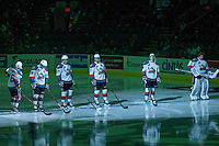KELOWNA, CANADA -FEBRUARY 5: The Kelowna Rockets line up against the Red Deer Rebels on February 5, 2014 at Prospera Place in Kelowna, British Columbia, Canada.   (Photo by Marissa Baecker/Getty Images)  *** Local Caption ***