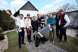 CZECH REPUBLIC MORAVIA BANOV 2APR18 - Easter celebrations with folklore musicians Jiri and Jan Chovanec as  they wander on their round through the village of Banov, Moravia. <br /> <br /> jre/Photo by Jiri Rezac<br /> <br /> © Jiri Rezac 2017