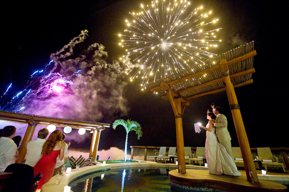 Fireworks at a Puerto Vallarta wedding reception.  Image by Maine Wedding Photographer, Puerto Vallarta Wedding Photographer, New York City Wedding Photographer and Philadelphia Wedding Photographer Michelle Turner.
