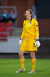 LLANELLI, WALES - Monday, August 19, 2013: England's goalkeeper Elizabeth Durack in action against France during the Group A match of the UEFA Women's Under-19 Championship Wales 2013 tournament at Stebonheath Park. (Pic by David Rawcliffe/Propaganda)