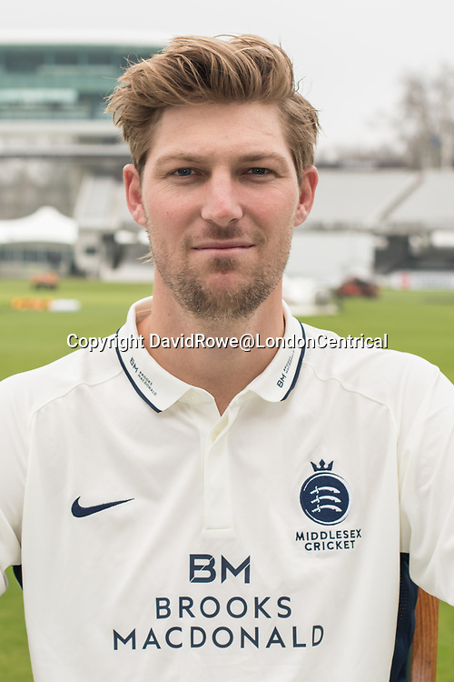 11 April 2018, London, UK. Ollie Rayner of Middlesex County Cricket Club in the County Championship white kit .
