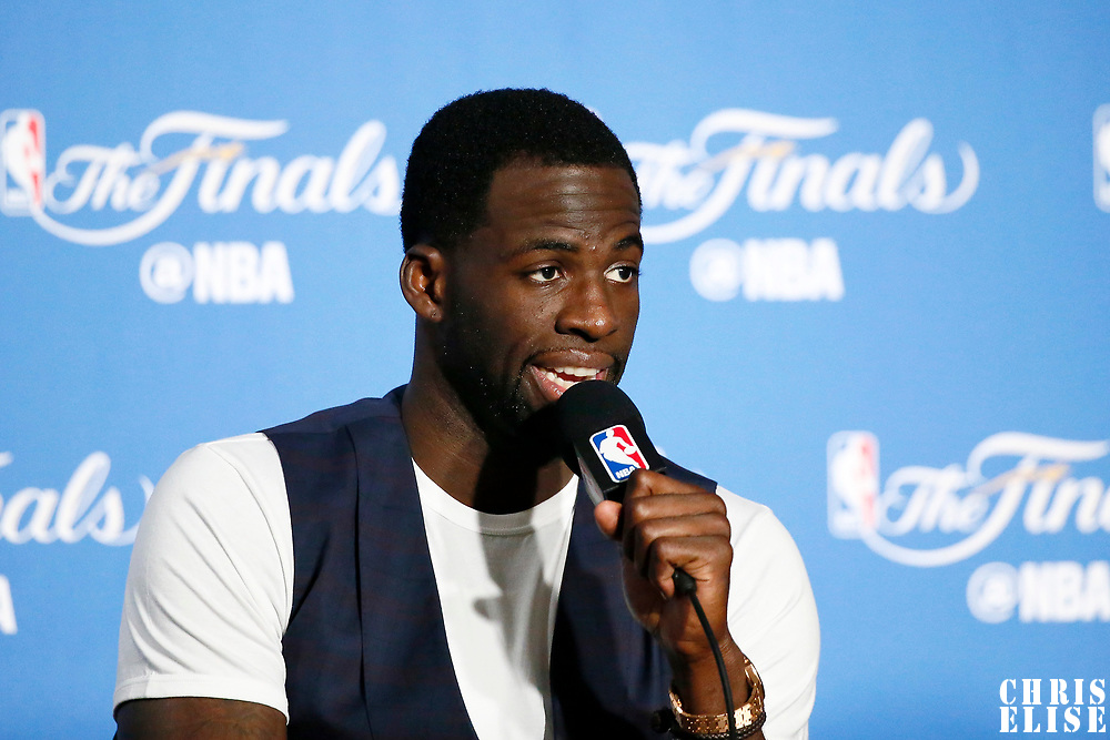 04 June 2017: Golden State Warriors forward Draymond Green (23) listens to journalists following the Golden State Warriors 132-113 victory over the Cleveland Cavaliers, in game 2 of the 2017 NBA Finals, at the Oracle Arena, Oakland, California, USA.