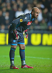 SWANSEA, WALES - Thursday, February 20, 2014: SSC Napoli's goalkeeper Pepe Reina during the UEFA Europa League Round of 32 1st Leg match against Swansea City at the Liberty Stadium. (Pic by David Rawcliffe/Propaganda)