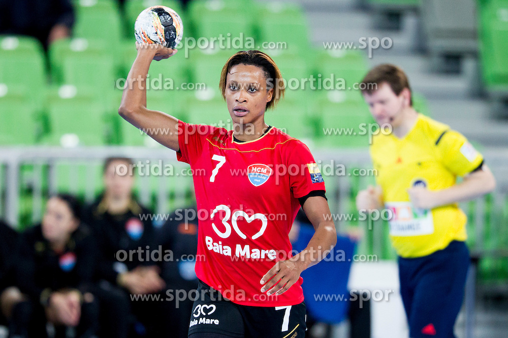 Allison Marie Pineau of HCM Baia Mare during handball match between RK Krim Mercator (SLO) and HCM Baia Mare (ROM) in 1st Round of Women's EHF Champions League 2015/16, on October 16, 2015 in Arena Stozice, Ljubljana, Slovenia. Photo by Urban Urbanc / Sportida