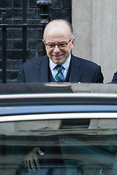 Downing Street, London, February 17th 2017. French Prime Minister Bernard Cazeneuve leaves 10 Downing Street following bilateral discussions with British Prime Minister Theresa May