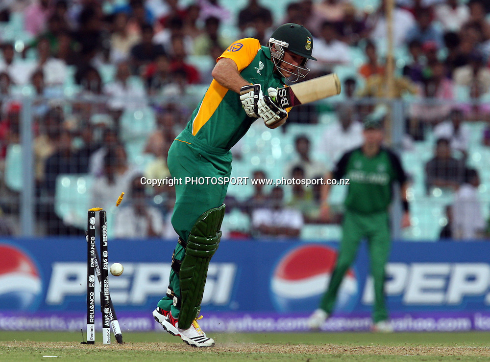 South African batsman Colin Ingram bowld by Ireland bowler Trent Johnston during the ICC Cricket World Cup - 34th Match, Group B South Africa vs Ireland Played at Eden Gardens, Kolkata, 15 March 2011 - day/night