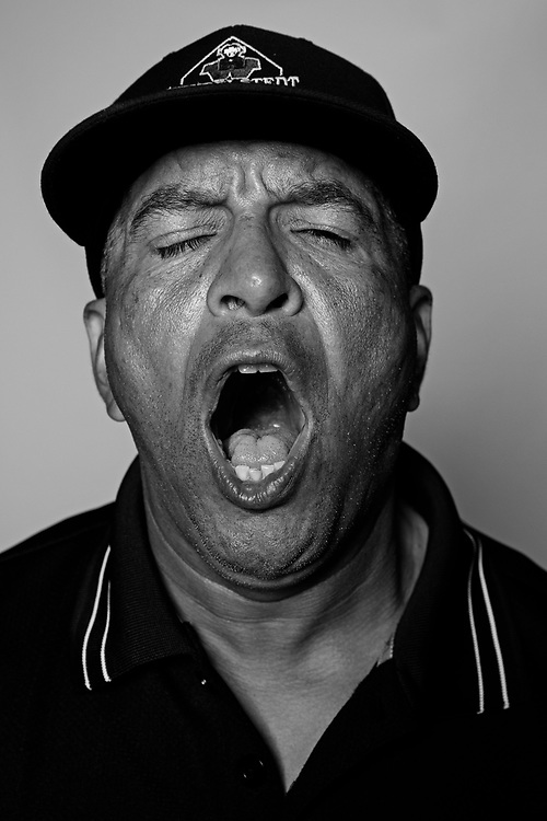 DAYTONA BEACH, FL - FEBRUARY 2, 2016:  Portraits of umpires calling a strike at the Harry Wendelstedt Umpire School in Daytona Beach, Fla.: Miguel Ortiz, 50, of Brooklyn, NY. (Photo by Melissa Lyttle)