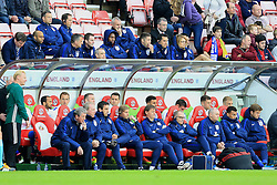 England Manager Roy Hodgson watches the match with his coaching staff as Daniel Sturridge and Gary Cahill watch from the stand behind - Mandatory by-line: Matt McNulty/JMP - 27/05/2016 - FOOTBALL - Stadium of Light - Sunderland, United Kingdom - England v Australia - International Friendly