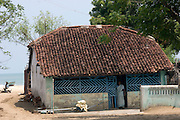 INDIA. Fisherman's home in Velankani. South India. Tamil Nadu State.