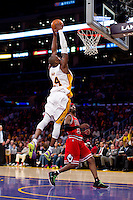 "25 December 2011: Guard Kobe Bryant of the Los Angeles Lakers dunks the ball over Richard ""Rip"" Hamilton of the Chicago Bulls during the second half of the Bulls 88-87 victory over the Lakers at the STAPLES Center in Los Angeles, CA."