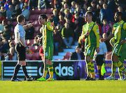 Notts County's Liam Noble gets sent off during the Sky Bet League 1 match between Swindon Town and Notts County at the County Ground, Swindon, England on 7 March 2015. Photo by Mark Davies.