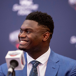 Jun 21, 2019; New Orleans, LA, USA; New Orleans Pelicans forward Zion Williamson the first overall selection in the NBA Draft talks during an introductory press conference at the New Orleans Pelicans Training Facility. Mandatory Credit: Derick E. Hingle-USA TODAY Sports