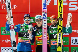 Second placed Domen Prevc (SLO), Winner Ryoyu Kobayashi (JPN) and third placed Markus Eisenbichler (GER) celebrate at trophy ceremony after the Ski Flying Hill Individual Competition at Day 4 of FIS Ski Jumping World Cup Final 2019, on March 24, 2019 in Planica, Slovenia. Photo by Vid Ponikvar / Sportida