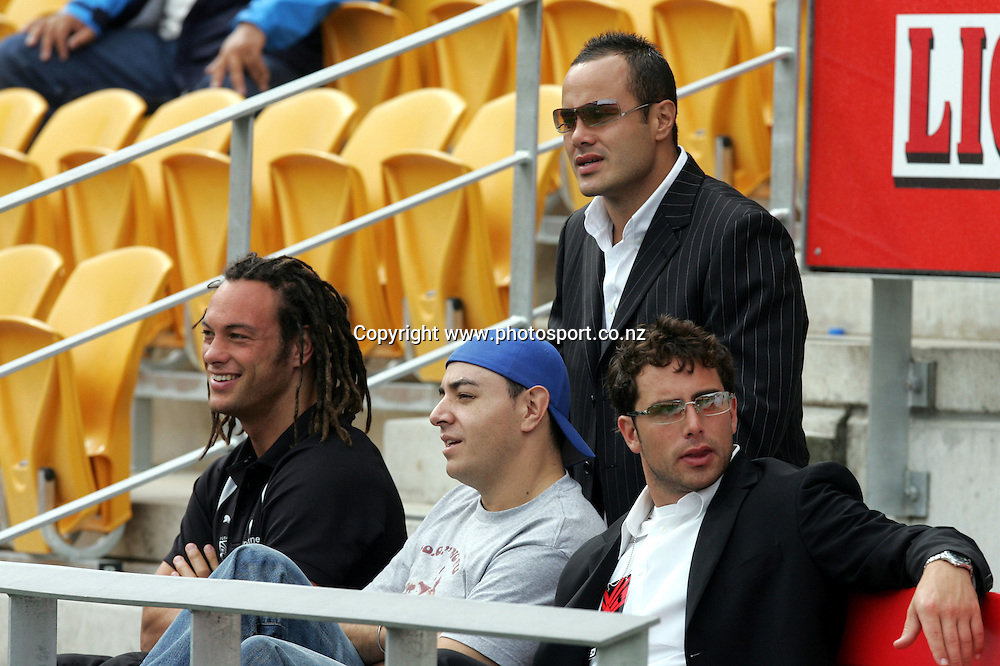 New Zealand Warriors Monty Betham and Karl Temata at the Barter Card Cup Rugby League game between Mt Albert and Otahuhu/Ellerslie at Ericsson Stadium, Auckland on Sunday 1 May, 2005. Photo: Andrew Cornaga/PHOTOSPORT<br />