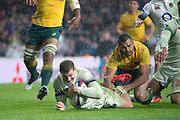 Twickenham, Surrey. UK. Jonny MAY, touches down, as Kurtley BEALE attempts to stop the try, during the <br /> England VS Australia, Autumn International. Old Mutual Wealth Series. RFU Stadium, Twickenham. UK<br /> <br /> Saturday  18.11.17<br /> <br /> [Mandatory Credit Peter SPURRIER/Intersport Images]