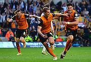 Dave Edwards celebrates scoring the winning goal during the Sky Bet Championship match between Wolverhampton Wanderers and Leeds United at Molineux, Wolverhampton, England on 6 April 2015. Photo by Alan Franklin.
