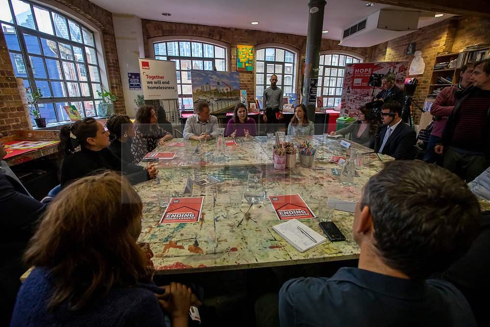 © Licensed to London News Pictures. 28/11/2019. London, UK. Jo Swinson, Leader of the Liberal Democrats, takes part in a roundtable on homelessness at Crisis' Skylight Centre with CEO Jon Sparkes, practitioners from Crisis and partner organisations, and individuals with lived experience of homelessness. Jo talked about the Liberal Democrats' plan to address the homelessness crisis.<br /> Photo credit: Alex Lentati/LNP