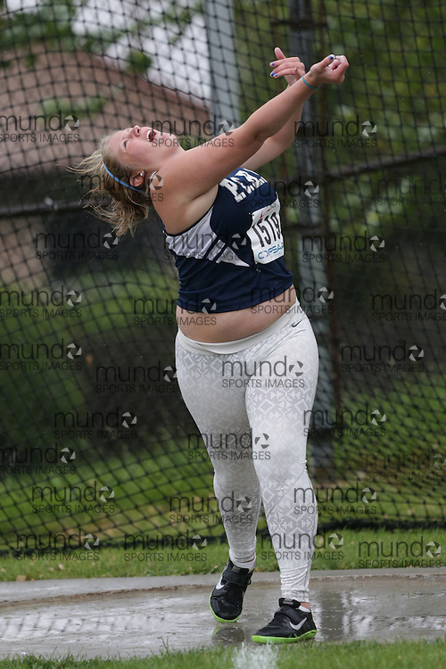 Ilyssa Boisvenue of Port Colborne HS -Prt Colborne competes in the senior girls discus at the 2013 OFSAA Track and Field Championship in Oshawa Ontario, Thursday,  June 6, 2013.<br /> Mundo Sport Images / Sean Burges