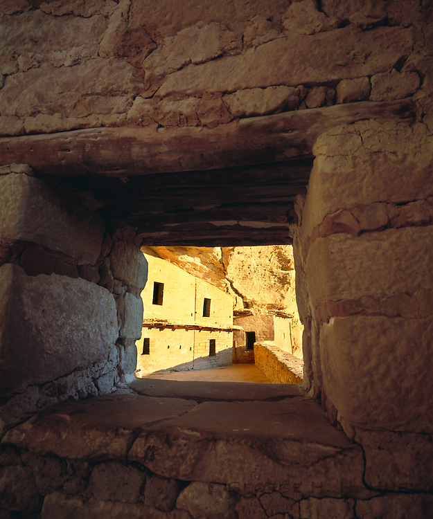 0405-1105 ~ Copyright: George H. H. Huey ~ Balcony House, Anasazi culture cliff dwelling in Soda Canyon, with well preserved 'balcony'. Occupied from A.D. 1190 - A.D. 1270's. Mesa Verde National Park, Colorado.