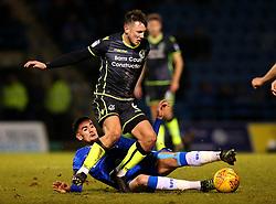 Ollie Clarke of Bristol Rovers is tackled by Conor Wilkinson of Gillingham - Mandatory by-line: Robbie Stephenson/JMP - 16/12/2017 - FOOTBALL - MEMS Priestfield Stadium - Gillingham, England - Gillingham v Bristol Rovers - Sky Bet League One