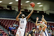 March 3, 2018: The St. Edward's University Hilltoppers play against the Oklahoma Christian University Eagles in the semifinals of the Heartland Conference men's basketball tournament at the Union Multipurpose Activity Center in Tulsa, Oklahoma.
