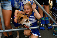 Abby Shelly of Lexington waits for the team to enter Kroger Field during the Catwalk in Lexington, Ky., Saturday, Sept. 7, 2019.