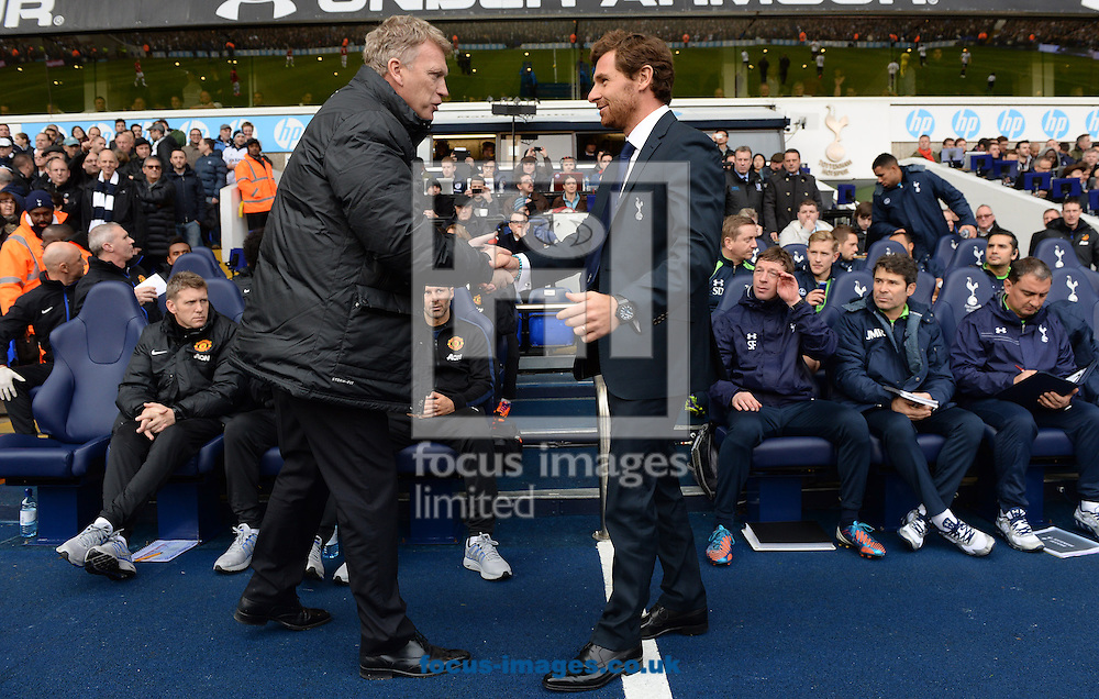 Picture by Andrew Timms/Focus Images Ltd +44 7917 236526<br /> 01/12/2013<br /> Manager of Tottenham Hotspur Andre Villas Boas and Manager of Manchester United David Moyes shake hands prior to the Barclays Premier League match at White Hart Lane, London.
